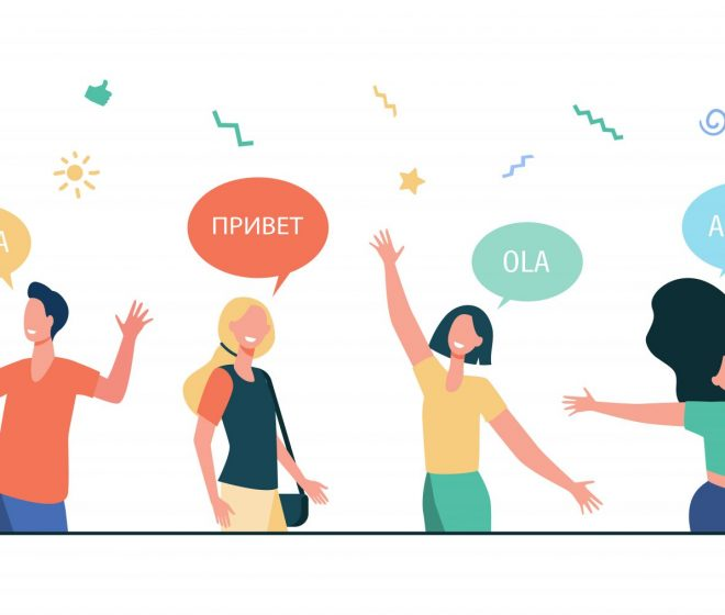 Happy young people saying hello in different languages