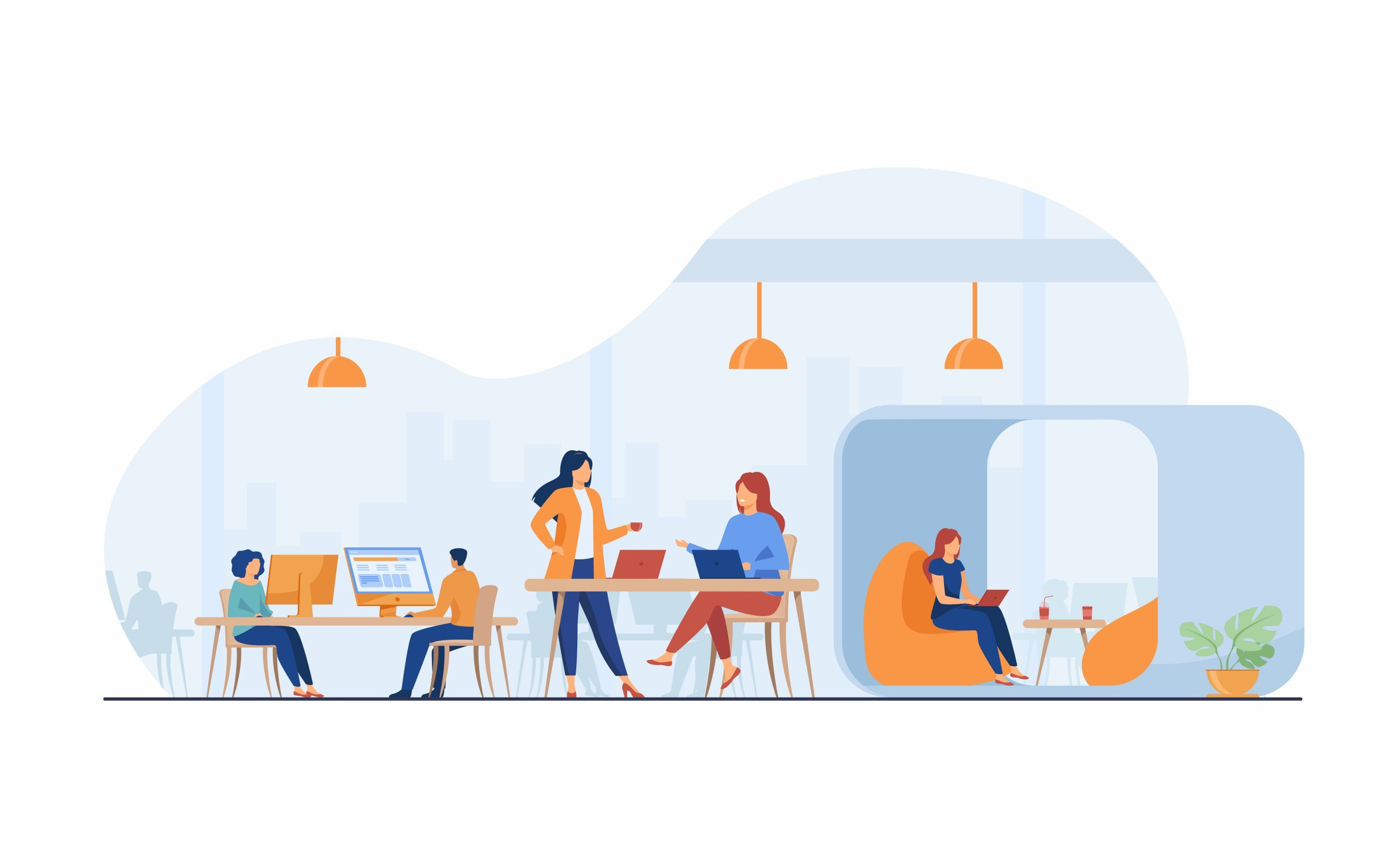 Modern business team working in open office space