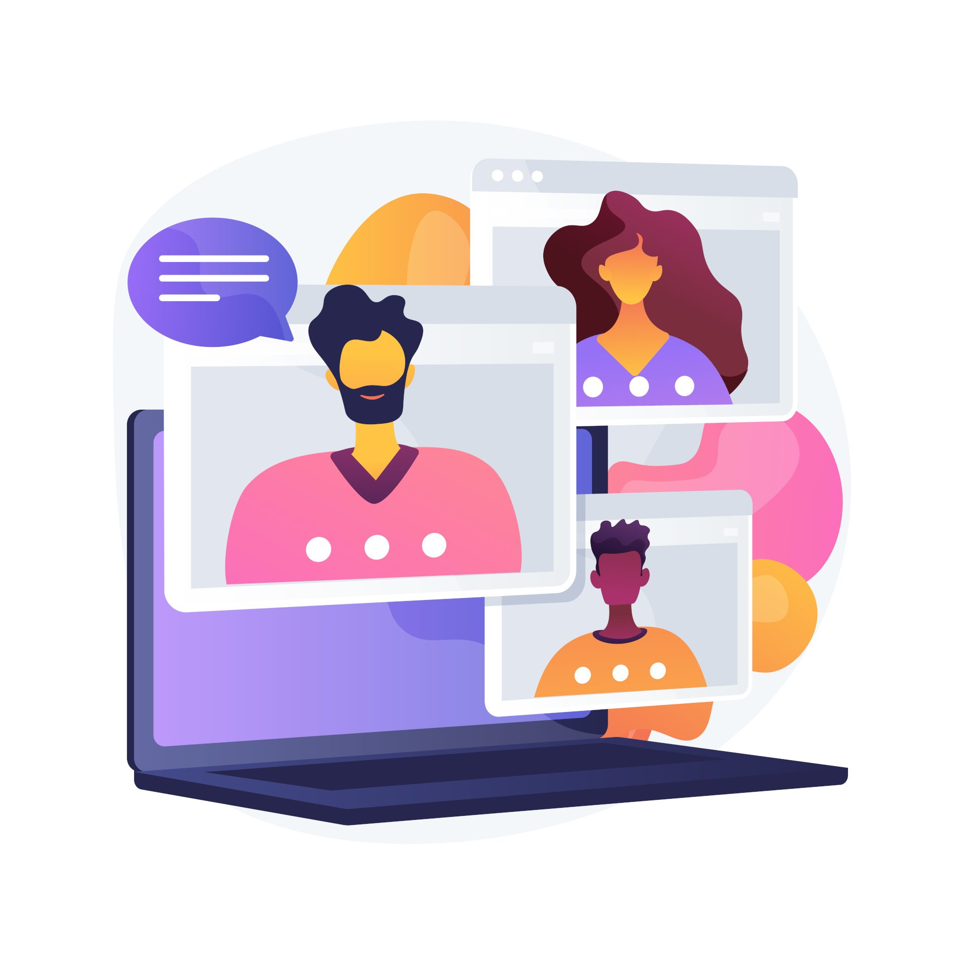 Online meetup abstract concept vector illustration.