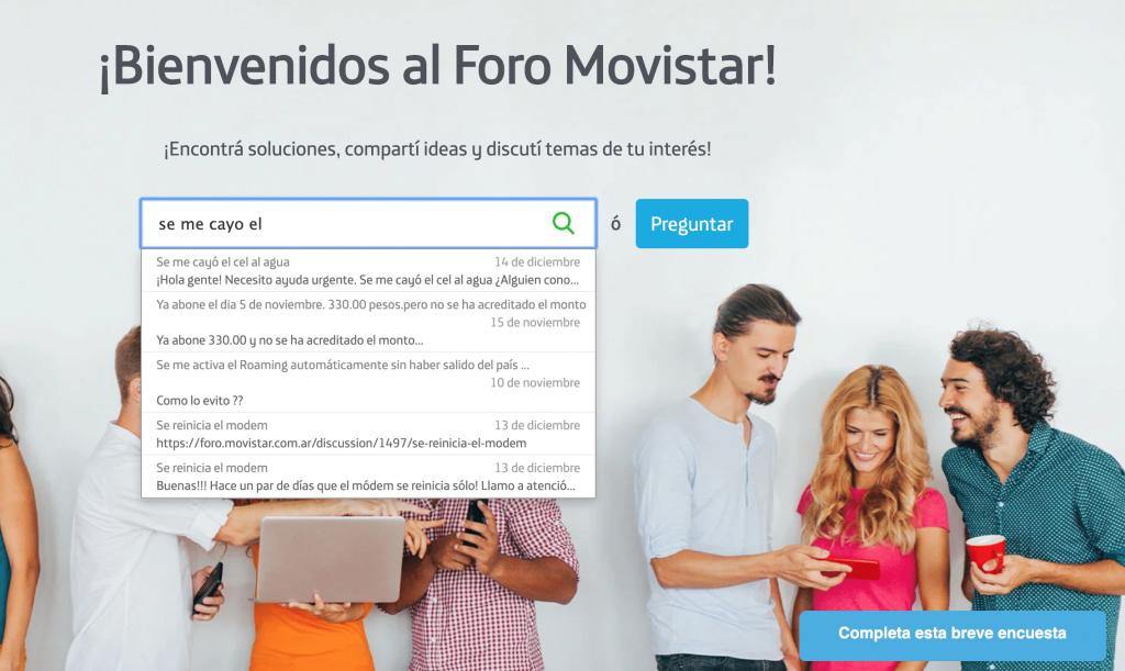 Buscador predictivo de la comunidad de marca de Movistar Argentina