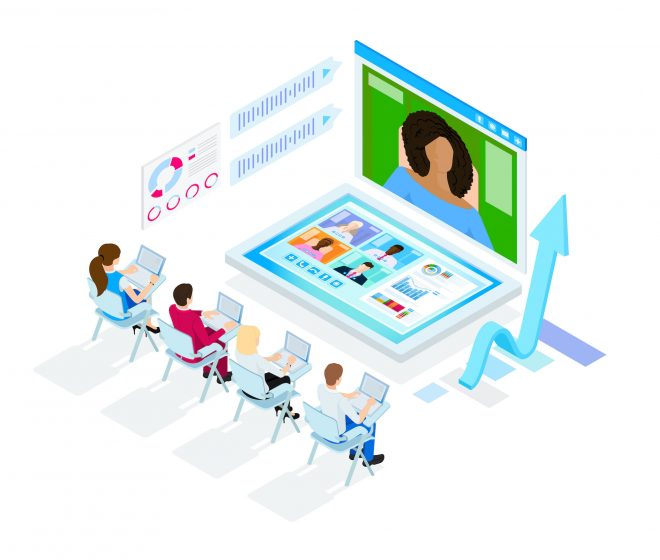 Isometric design. Vector illustration. Concept 3d, 2d graphics. Video chat. Online remote work form home. Digital video conference. Global communication. Online business meeting. Web infographics.